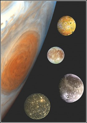 Collage di immagini: GIOVE e la grande macchia rossa in evidenza con le 4 maggiori Lune del sistema