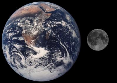sistema Terra-Luna nelle reali proporzioni