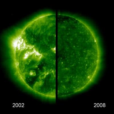 Il sole fotografato da SOHO. Anno 2002 versus anno 2008.