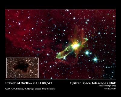 oggetto HH 46/47 stella in formazione: foto piccola nel visibile - foto grande nell'infrarosso
