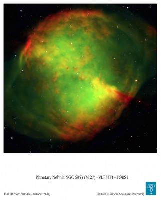 Nebulosa planetaria M 27 nella costellazione della Volpe