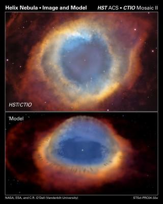 Nebulosa planetaria Elica (sopra) e ricostruzione della stessa vista di profilo (sotto)