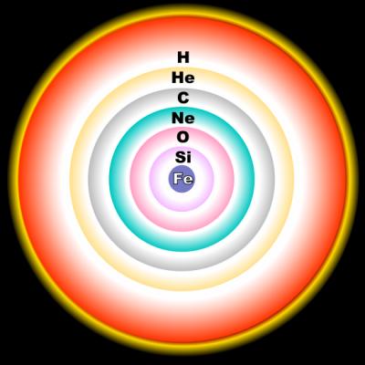 Schema a cipolla degli strati interni di una stella morente e degli elementi che ne vengono bruciati allinterno