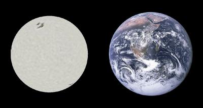 Confronto di dimensioni fra Sirio B e la Terra - ricordo che la massa di Sirio B e pari alla massa del Sole; questo confronto permette di farsi unidea sulla densita della materia allinterno della stella