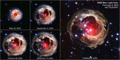 V838 nella costellazione dell'Unicorno - questo gruppo di foto è una sequenza catturata dal Hubble S.T. che mostra le varie fasi di espansione della materia attorno alal stella