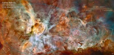 NGC 3372 e la nebulosa entro cui alloggia anche la nostra Eta Carinae - Su questa foto e stato segnato lo schema di tutta la regione