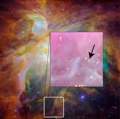 M 42 la Nebulosa di Orione - nel riquadro le due stelline diversamente concordi