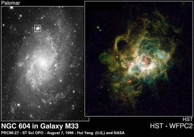 NGC 604 l'ammasso aperto nella galassia M33 nella costellazione del Triangolo