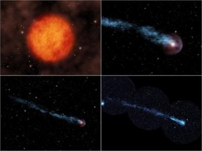 Sequenza della coda di Mira Ceti - crediti GALEX