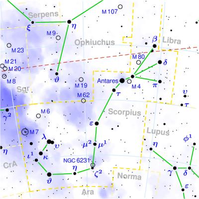 Costellazione dello Scorpione - Tau Scorpii e' sotto la stella Antares (alfa scorpii) - Copyright © 2003 Torsten Bronger