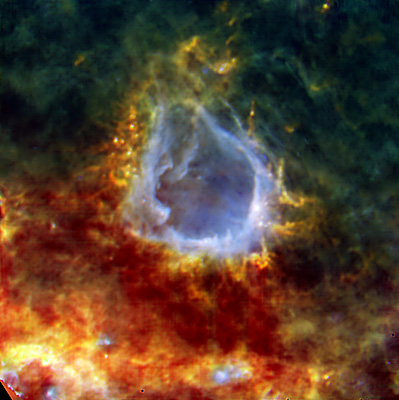 La neonata stella RCW 120 pizzicata da Herschel - Credits: ESA/PACS/SPIRE/HOBYS Consortia