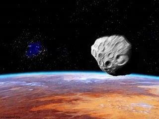 Rappresentazione artisitca di un asteroide in passaggi omolto ravvicinata alla Terra - Copyright degli aventi diritto