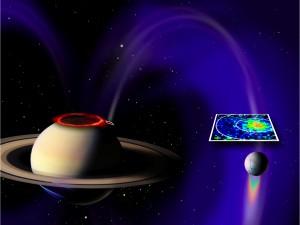 """Ricostruzione della """"connessione fra Saturno ed Encelado - Credits: NASA/JPL/JHUAPL/University of Colorado/Central Arizona College/SSI"""
