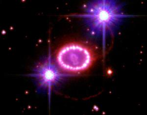 SN 1987A qui è molto ben visibile l'annello di materia posto attorno al resto di Sanduleak anni dopo l'esplosione- Credits: Hubble/NASA