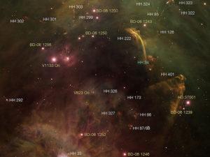 Oggetti HH osservati nella nebulosa di Orione - Credits Z. Levay (STScI), T.A. Rector (University of Alaska Anchorage), and H. Schweiker (NOAO-AURA-NSF)