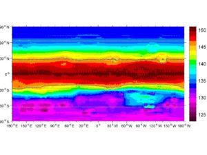 Mappa globale della temperatura media della superficie di Vesta, la zona più calda è quella equatoriale per questo non potrebbe sostenere il ghiaccio d'acqua sotto la superficie. Ma circa la metà di Vesta è così freddo e riceve la luce del Sole così poco (in media), che il ghiaccio d'acqua potrebbe sopravvivere per miliardi di anni. Credits: NASA / GSFC / UMBC