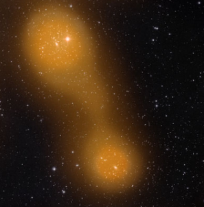 Il ponte fra Abell 399 e Abell 401 - Credits: Sunyaev-Zel'dovich -ESA & Planck - STScI Digitized Sky Survey