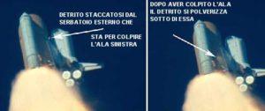 STS 107 - Dalle riprese video fatte a terra, si può vedere l'impatto della schiuma isolante con l'ala sinistra - Credits: NASA