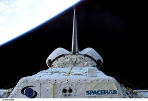 STS 107 - Ripresa della stiva di carico con il logo della missione scientifica SapceHab - Credits: NASA