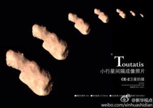 Asteroide Toutatis ripreso nel flyby con Chang'e 2