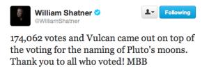 Il tweet con il quale Shatner comunica il numero di gradimento del nome Vulcano.
