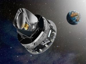 Rapresentazione artistica di Planck nel punto L2 - Credits: ESA / D. Ducros