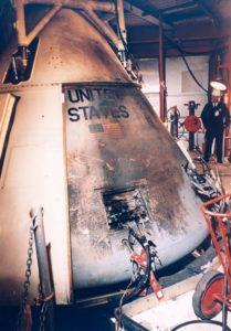 La capsula di Apollo 204 dopo la tragedia - Credits: NASA