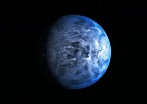 Rappresentazione artistica del pianeta blu HD 189733b. Credits: NASA, ESA, M. Kornmesser