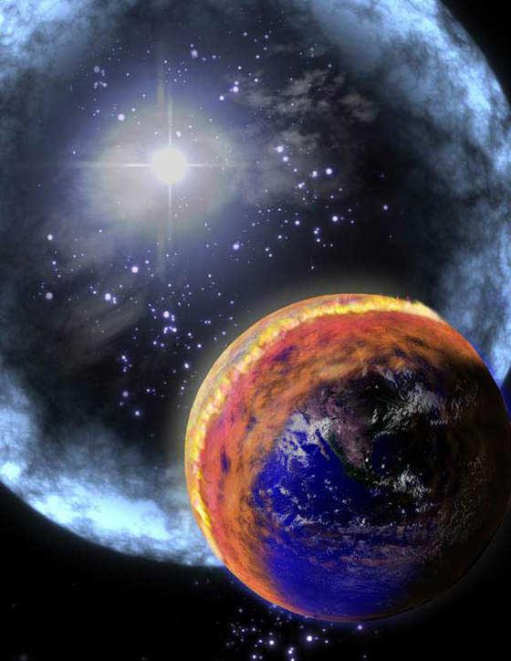 Rappresentazione artistica di un GRB diretto verso la Terra - Copyright degli aventi diritto