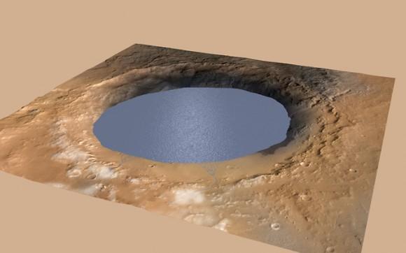 Ricostruzione del cratere Gale quando era un lago. - Credits: NASA/JPL-Caltech/ESA/DLR/ FU Berlin/MSSS