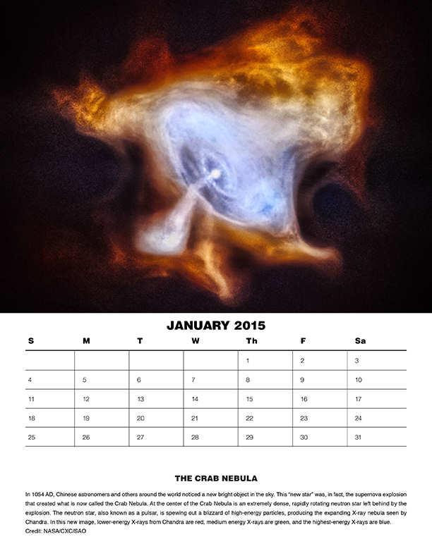 Pagina di gennaio 2015 del calendario di Chandra. - Credits: NASA/ SAO