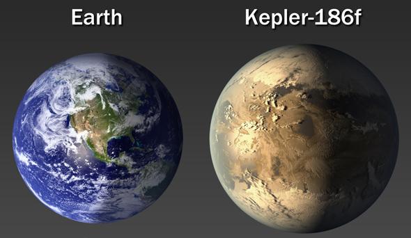 Comparazione fra le taglie di Kepler 186f  e la Terra - Copyright degli aventi diritto