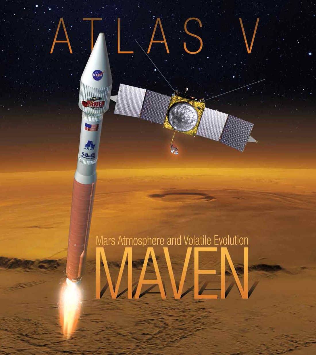 MAVEN locandina della missione - Credits: NASA