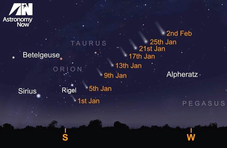 Percorso della cometa C/2014 Q2 all'inizio del 2015 - Credits: astronomynow.com