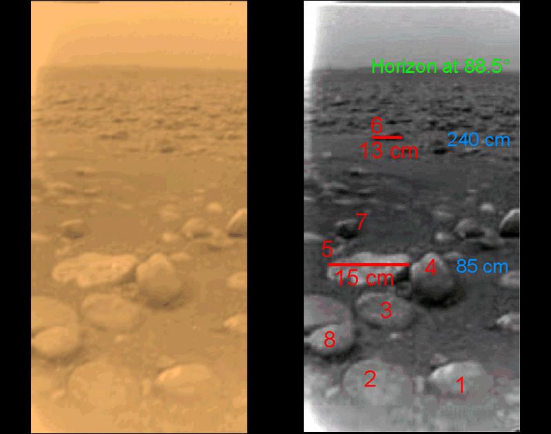 Suolo di Titano ripreso dalla Huygens appena atterrata - Credits: NASA