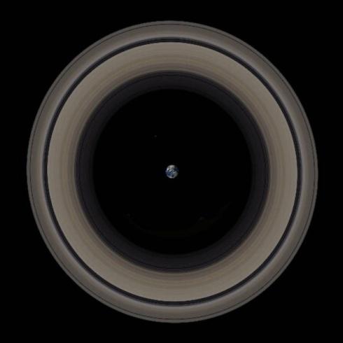 La Terra esattamente allo stesso posto di Saturno  e gli anelli a farle da corona - Copyright degli aventi diritto