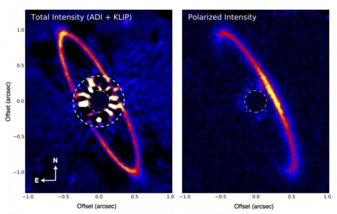 La stella HR 4796A (Occhio di Sauron) e l'anello di povere che le orbita attorno. - Credits: Marshall Perrin (Space Telescope Science Institute), Gaspard Duchene (UC Berkeley), Max Millar-Blanchaer (University of Toronto), GPI Team