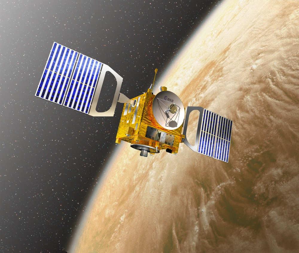Rappresentazione artistica della Venus Express in orbita - Credits: ESA