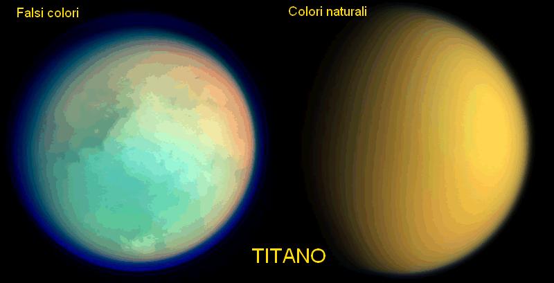 La luna Titano nei due colori. Nell'immagine a colori falsati, spicca evidente la densa atmosfera del satellite. - Credits: NASA/JPL