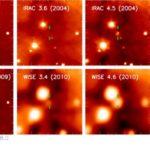 HOPS 383 ripreso nel vicino e medio infrarosso prima e dopo l'aumento di luminosità - Cresits: NEWFIRM, WISE, and Spitzer