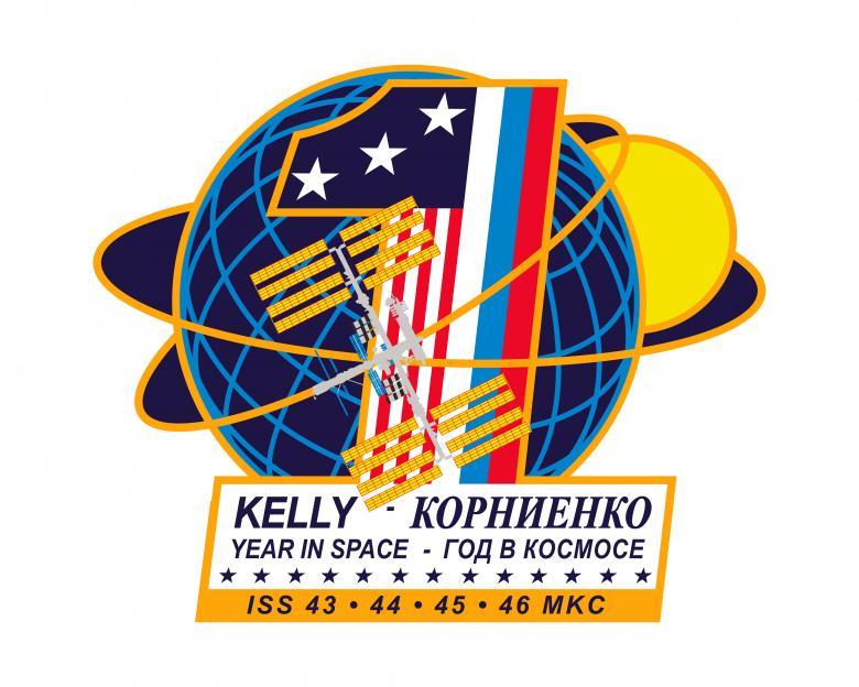Logo dedicato a Kelly e Korniyenko per la missione di un anno sulla ISS - Copyright degli aventi diritto