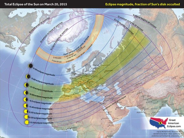 Mappa dell'eclissi del 20 marzo 2015