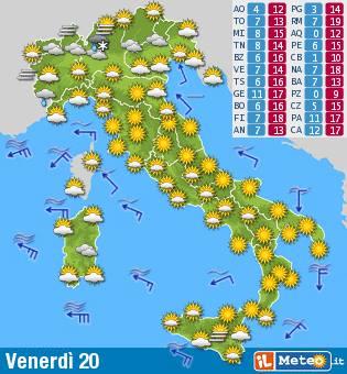 Meteo del 20 marzo per la penisola Italiana