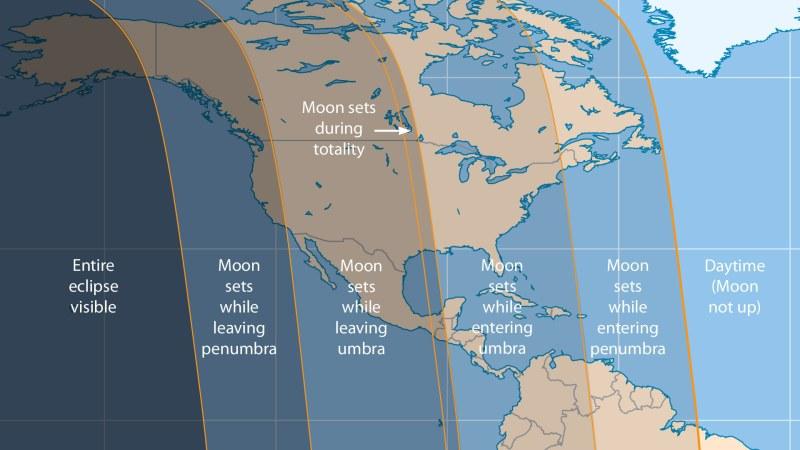 Mappa che mostra l'eclissi nel nord America. - Credits: Sky & Telescope illustration