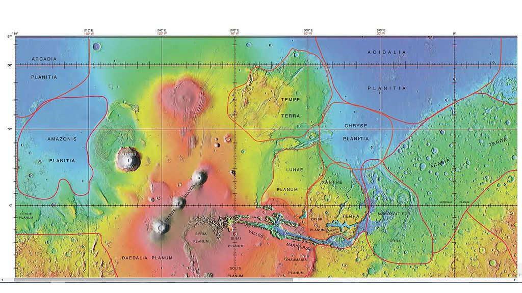 La mappa Marziana dove si può osservare anche la collocazione di Acidalia Planitia