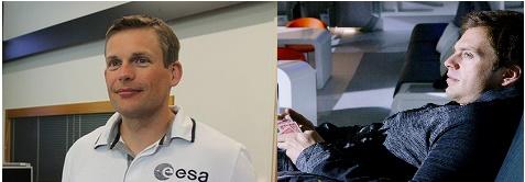 Andreas Mogensen con la maglia bianca dell'ESA e l'attore Sebastian Stan in una scena del film