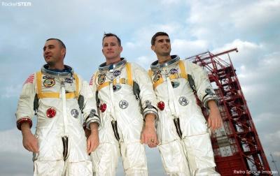 Equipaggio dell'Apollo 1 - Da sinistra Grissom, White e Chaffee. Credits: NASA